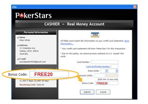 bonus code for pokerstars